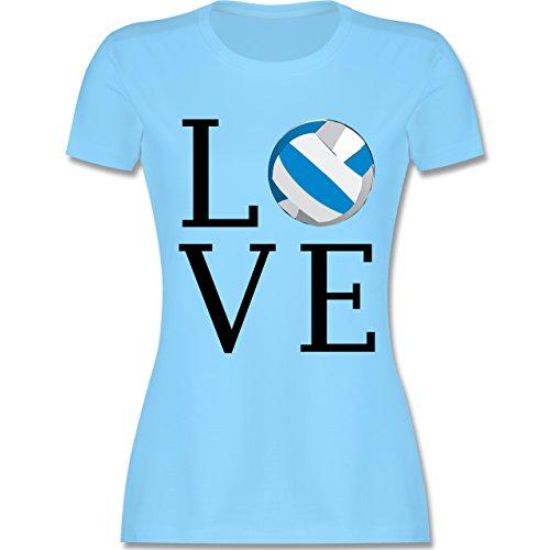 Volleyball - Love Volleyball - tailliertes Premium T-Shirt mit Rundhalsausschnitt für Damen Hellblau