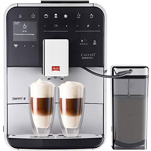 Melitta Caffeo Barista TS Smart F850-101 Kaffeevollautomat mit Milchbehälter | Smartphone-Steuerung mit Connect App | One Touch Funktion | Pro Aqua Filtertechnologie | Silber
