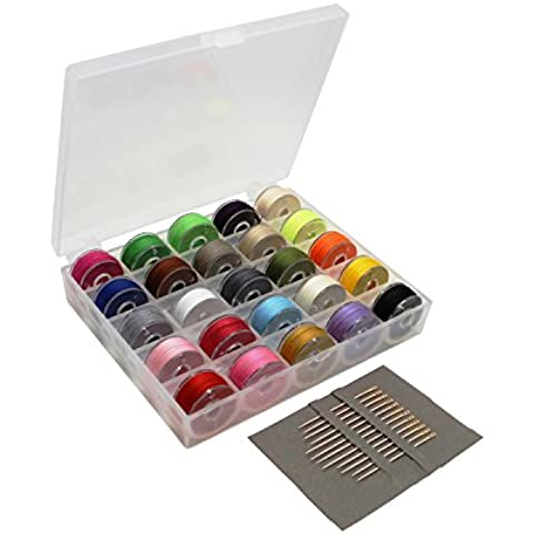 swebgo Bobbin Case Organizador con 25bobinas de máquina de coser Claro y varios colores hilo de coser + Juego de agujas para Brother