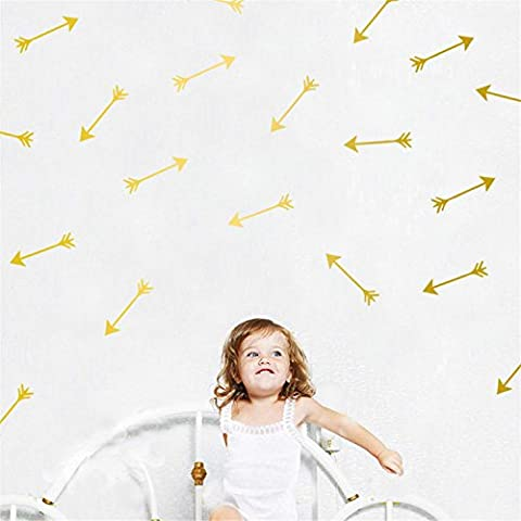 Yanqiao 24PCS/SET Arrows Wall Stickers Vinyl Lettering Wallpaper Home Decorations for Living Room Bedroom Kitchen Kids' Room Nursery Decor,Gold