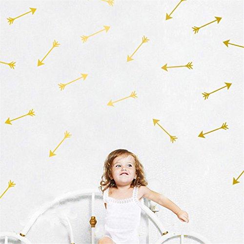 Warm Cherry-tv (yanqiao 28Stück/Set Pfeile Wand Aufkleber Vinyl Schriftzug Tapete Home Dekor für Wohnzimmer Schlafzimmer Küche Kinder Zimmer der Kinderzimmer Decor, Gold gold)