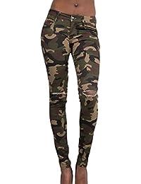La Mujer Camuflaje Pantalones De Cintura Alta Pantalones Largos Vestido Bodycon