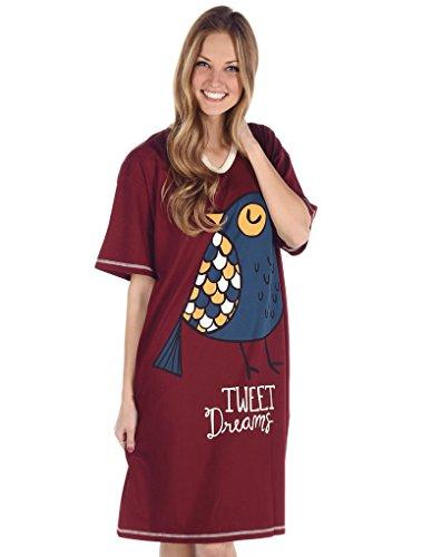 Lazy One NS371 Women's Tweet Dreams Bird Red Cotton Night Gown Loungewear Nightdress