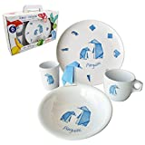 CARTAFFINI ' Set 4teilig Freunde Origami–Pinguine aus Melamin, Teller, Etui, Becher, Tasse. In Koffer Geschenk