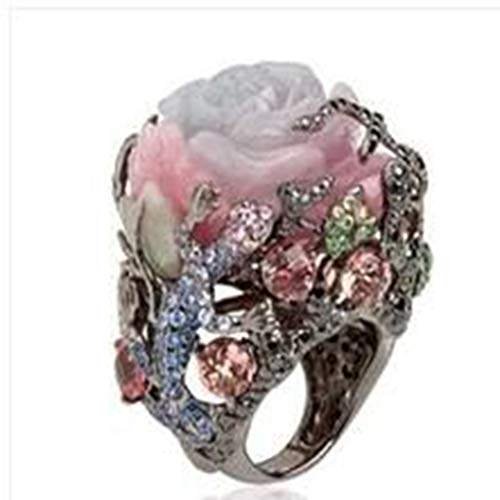 UINGKID Schmuck Damen Ring Luxus Vintage Rose Mit Diamanten ()