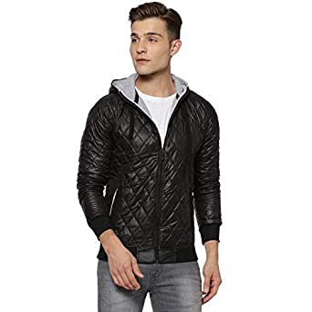 Campus Sutra Men's Full Sleeve Poly Cotton Solid Jacket (Black, Small)