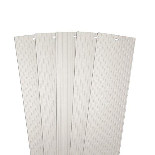 DALIX Gerippter Esatzlamellen für Vertikale Jalousien Weiß Vinyl Fenster 5Stück 98.5 x 3.5 inch Elfenbeinfarben - Weiss Vinyl Jalousie