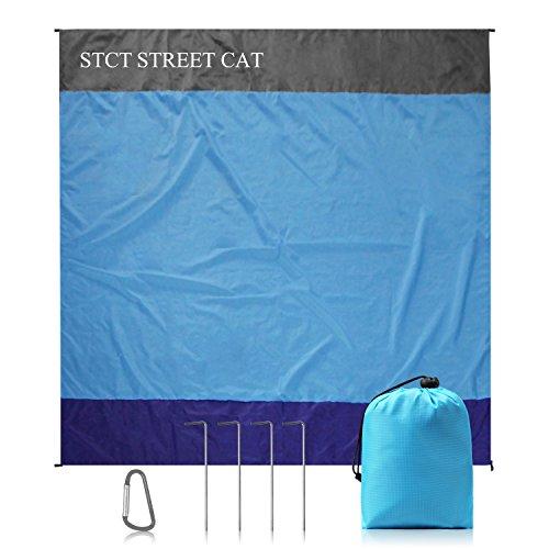 STCT 200 x 200 cm XL Stranddecke, Sandfreie Picknickdecke Campingdecke Strandtuch, aus Weiches Nylon mit Tasche, Wasserdicht, Schnell Trocknend, Ultraleicht, Tragbar