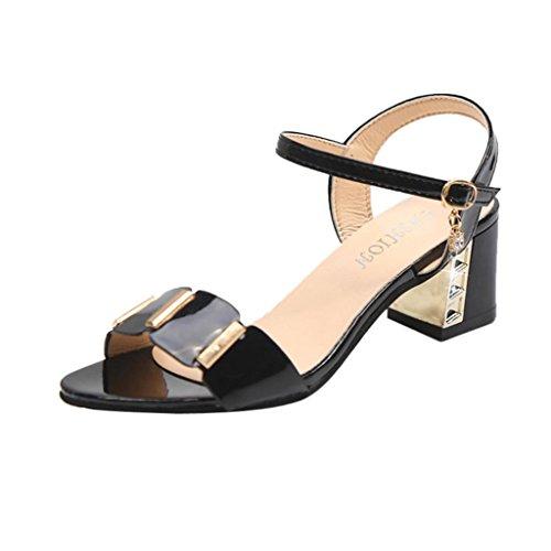 Elecenty scarpa Sandalo Donna Sintetico Tacco Medio-Basso con Cinturino alla Caviglia (EU:37, Nero)