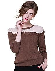 Zhili Women's Basic Slim Crew Neck Long Sleeve 100% Cashmere Pullover Sweater