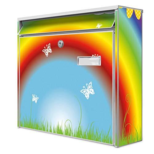 Burg Wächter Design Briefkasten | Postkasten 36 x 32 x 10cm groß | Stahl weiß verzinkt mit Namensschild | großer A4 Einwurf, 2 Schlüssel | Motiv Regenbogen | mit weißem Ständer