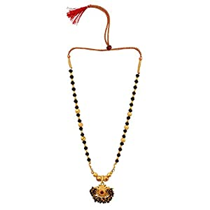 Archi Collection Metal & Rhinestone Brass and Crystal Necklace for Girls & Women (Multicolored)
