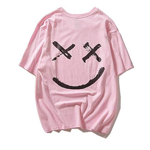 Lonshell T Shirt Homme Imprime Smile Face Happiness Pull Casual Gilet À Capuche Tops Sweatshirt Col Rond Humour Chemises Haut Manches Courtes Mode Pas Cher Visage Souriant imprimé Chic Tee To