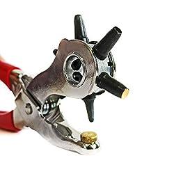 S&R PROFI Revolverlochzange/MADE IN GERMANY/Lochzange mit 6 auswechselbaren Lochpfeifen 2-2,5-3 - 3,5-4 -5 mm Gürtellochzange Stanzzange