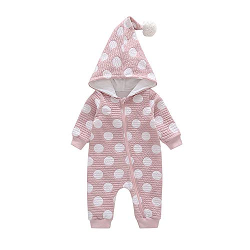 Huhu833 Baby Kleidung, Infant Kleinkind Baby Mädchen Jungen Welle Punkt Haar Ball Caps Strampler Overall (Rosa, 6M-70CM) -