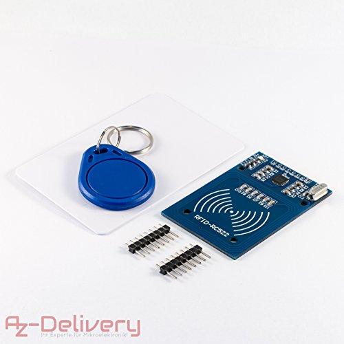 AZDelivery RFID Kit RC522 mit Reader, Chip und Card für Arduino, Raspberry Pi und Co. inklusive gratis Quick Start Guide!