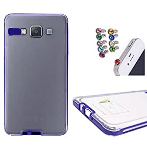 DMG LED Flashing Call Notification TPU Back Cover Case for Samsung Galaxy A7 (Blue) + 3.5mm Jewel Dust Jack