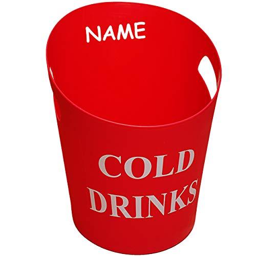 alles-meine.de GmbH großer XL - Eiseimer / Getränkekühler - Cold Drinks - ROT - 33 cm - 9 Liter - inkl. Name - aus Kunststoff / Plastik - Sektkühler - Flaschenkühler - Weinkühler..