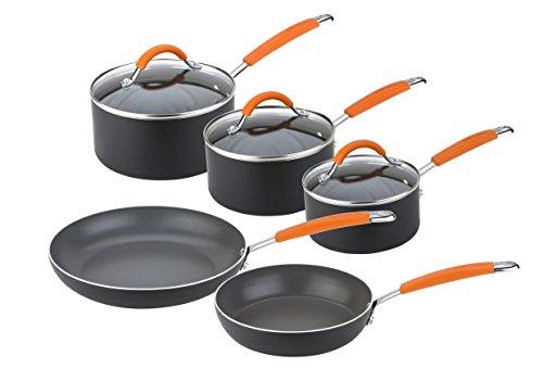 Joe Wicks 66755 Easy Release Aluminium non-stick cookware-5 piece Saucepan and Frypan Set, Black and Orange