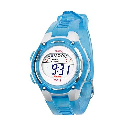 Sannysis® Moda Niños Niñas natación deportes digital impermeable reloj de pulser - azul