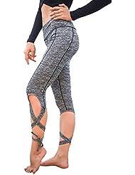 LALA IKAI Vendaje Yoga Pantalones Fitness Mallas Deporte para Mujer (Gris, M Asiático)