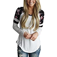 Donna maglietta manica lunga girocollo allentato Camicetta T-shirt Top casuale
