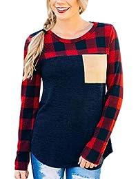 e94b1252c13747 JINSH Damen O Neck Langarm Sweat-Shirt Pullover Kariertes Gitter Chiffon Tops  Bluse Spezielles Hemd
