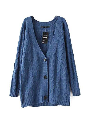 Molly Donne Collo A V Maniche Lunghe Maglione Cardigan FreeSize Blu