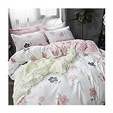 AmDxD Bettlaken, Bettbezug und Kissenbezügen aus Polyester Blumen Design 4 Teilig Bettwäscheset Spannbetttücher Weiß