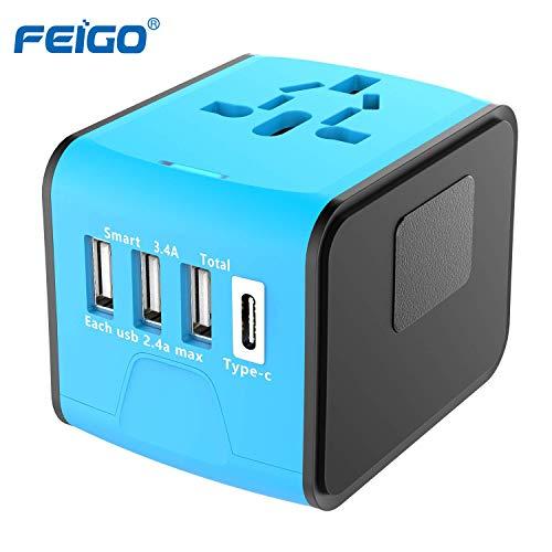 FEIGO Universal Reiseadapter Mini Travel Adapter (US UK AU EU) Ladestecker mit 3 USB Ports und Type C International Ladegerät Sicherheit AC Steckdose (Blau) Mini Travel Ac Adapter