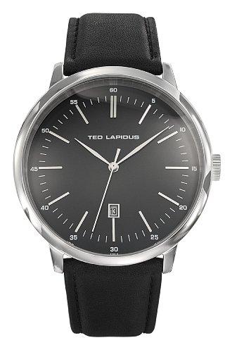 Ted Lapidus - 5129701 - Montre Homme - Quartz Analogique - Cadran Noir - Bracelet Cuir Noir