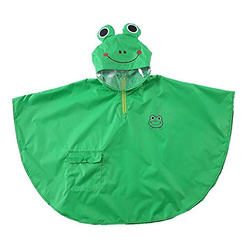 Bambini bambino bambini impermeabile poncho antivento cape leggero e traspirante con 3d cartoon animal pattern green frog/m