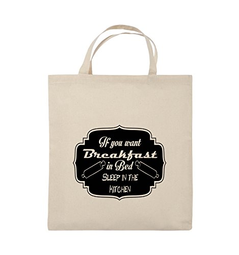 Comedy Bags - If you want Breakfast in Bed - KITCHEN - Jutebeutel - kurze Henkel - 38x42cm - Farbe: Schwarz / Pink Natural / Schwarz