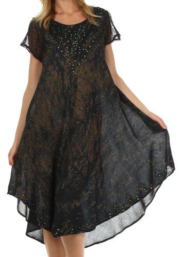 Sakkas 715D Michiko Stonewashed Kaftan Kleid/Cover Up - Schwarz - One Size - Schwarze Krepp-kleid