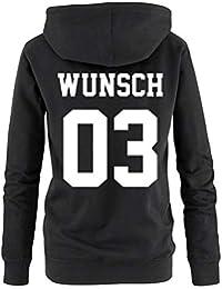84b8ac15ce07 Comedy Shirts Partnerlook Hoodie mit Wunschname   Wunschnummer  INDIVIDUALISIERBAR – Pullover für Pärchen, Familie