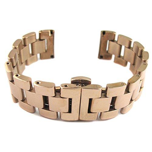 MapofBeauty Luxus Edelstahl Armbanduhr-Uhren Uhrenarmband mit Sicherheitsdruckknopfschliee Unsichtbare Schliee( Rotgold&22 Millimeter)