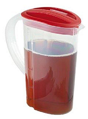 Curver - Jarra de plástico con tapa para agua fría, té helado, zumo, limonada, leche, jarra de 2 litros + 3 bandejas de cubitos de hielo
