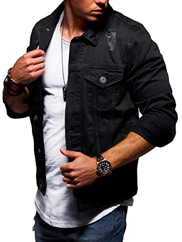 behype. Herren Jeans-Jacke Stretch Destroyed Übergangs-Jacke 55-0109 Schwarz L