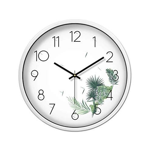 Plant Silent Wanduhr, Coffee Shop Study Classroom Bekleidungsgeschäft The Mall Convenience Store Rural Wanduhr Metall Wanduhr 30-35 cm Wanduhr (Farbe: Weiß, Größe: 30 * 30 cm)