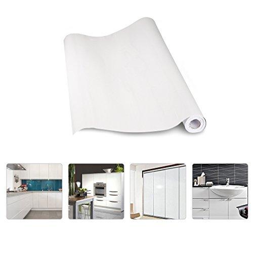 KINLO Aufkleber Küchenschränke Weiß 2 Stk. 61x500cm aus hochwertigem PVC Tapeten Küche Klebefolie Möbel wasserfest Aufkleber für Schrank selbstklebende Folie Küchenschrank Küchenfolie Dekofolie -
