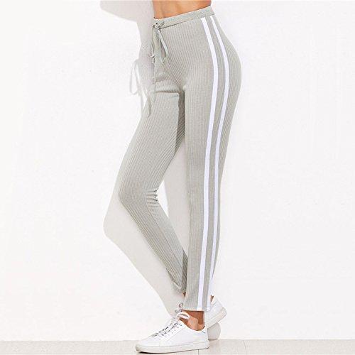Femme Pantalons de Survêtement Taille Haute Pantalon avec Cordon Rayé Leggings Mode Casual Slim Fit Pantalon Vêtements pour des Sports Aptitude S-XL Gris