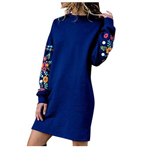 Damen Blumenmuster Elegant T-Shirt Kleid Mit Blumen Stickerein Winter Herbst Moda A-Linie Sweatshirt Kleider Lange Sleeve Pullover Frauen günstig Casual Langarm Floral Stickerei -