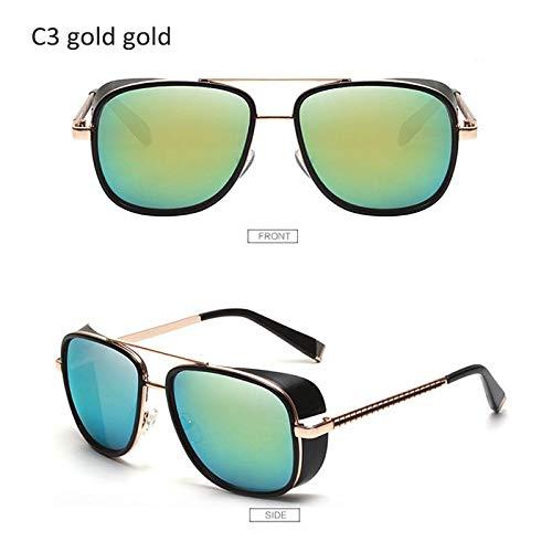 YUHANGH Sonnenbrillen Herren Retro Vintage Designer Sonnenbrillen (Herren Brille Gold Versace)