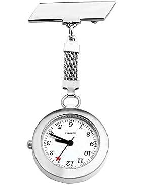 JSDDE Uhren,Krankenschwester FOB Uhr Pflegeruhr Pulsuhr Ansteckuhr Kreuz Schwesternuhr Taschenuhr Quarzuhr,Weiss