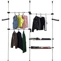 Todeco - Organisateur Télescopique Armoire, Support Télescopique Vêtement - Matériau: Tubes en Fer - Charge maximale: 90 kg - 320 x 200 cm, Blanc