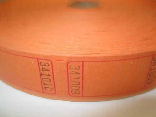 2000 Blank Orange Single Roll Consecutively Numbered Raffle Tickets by 50/50 Raffle Tickets (Single Roll Tickets)