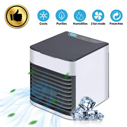 Orthland - Climatizzatore portatile 3 in 1, mini ventilatore, umidificatore, purificatore d'aria, Mini Air Cooler USB con raffreddamento ad acqua, serbatoio grande da 500 ml, 3 velocità