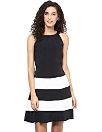 "Black & White Crape ""A"" Line Dress"