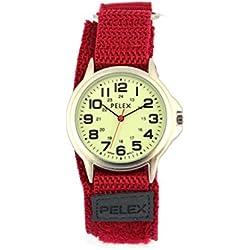 PELEX Red Webbing Strap Watch Luminous Watch (Glow in the Dark)