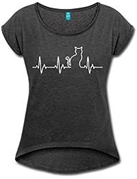 Katze Silhouette EKG Herzschlag Katzenfan Frauen T-Shirt mit gerollten Ärmeln von Spreadshirt®